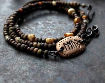 Love runic inscription bracelet, rustic wrap bracelet, brown triple bracelet, rune amulet bracelet, love quote bracelet, bohemian bracelet