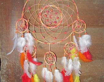 Dream catcher, made, dreamcatcher, orange and yellow, red wall decor / actual 50 cm