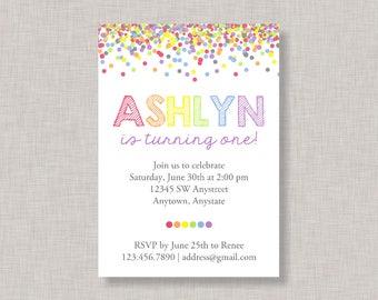 Confetti Birthday Invitation, Rainbow Invitation, Rainbow Birthday Invitation