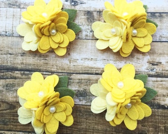 Wool Blend Felt Flower Mum Trios - Yellow Ombre - 4 Mum Trios
