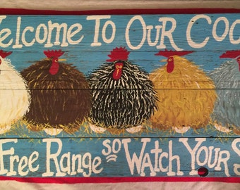 Chicken Coop Sign 32x16 Large Country Rustic wood Hand Painted Country Sign ,Hens,Roosters,Farm Sign,Chicken Coop Sign,