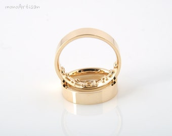 Personalized message ring- solid gold imprint ring.