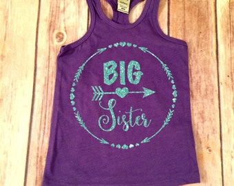 Big Sister Tank Big Sister Shirt  Sibling Shirts Sister Shirt Pregnancy Announcement Shirt Baby Announcement Shirt,Matching Sister Set