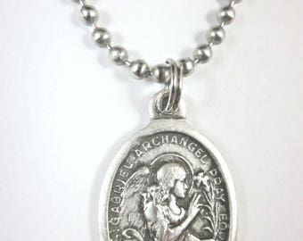 "St Gabriel the Archangel Medal Necklace 24"" Ball Chain Gift Box Prayer Card"