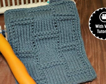 Loom Knitting PATTERNs Textured Tiles Stitch with Video Tutorial