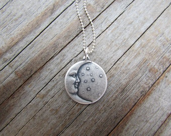 Moon and Stars Pendant, silver moon and stars, simple silver necklace, celestial