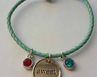 Teal leather sweet charm bracelet