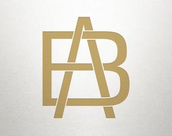 Printable Monogram Design - AB BA - Printable Monogram - Custom