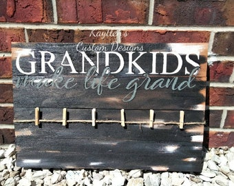 Grandkids Sign Grandchildren Sign~ Grandkids Make Life More Grand Wood Sign~ Grandkids Picture Sign~ Twine Picture Hanger~ Painted Wood Sign