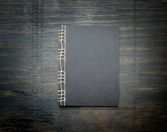 Black Handmade Notebook, Stitched Binding with Hemp Cord, Unlined Recycled Paper, Travel Journal, Sketchbook