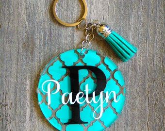 "Personalized Monogram Keychain with Tassel, Custom Acrylic Keychain, Glitter Monogram, Quarterfoil name keychain, 2.5"" circle keychain"