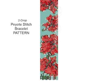 Hibiscus Bracelet Pattern - 2 Drop Peyote Stitch Bracelet Pattern - Hibiscus on Blue