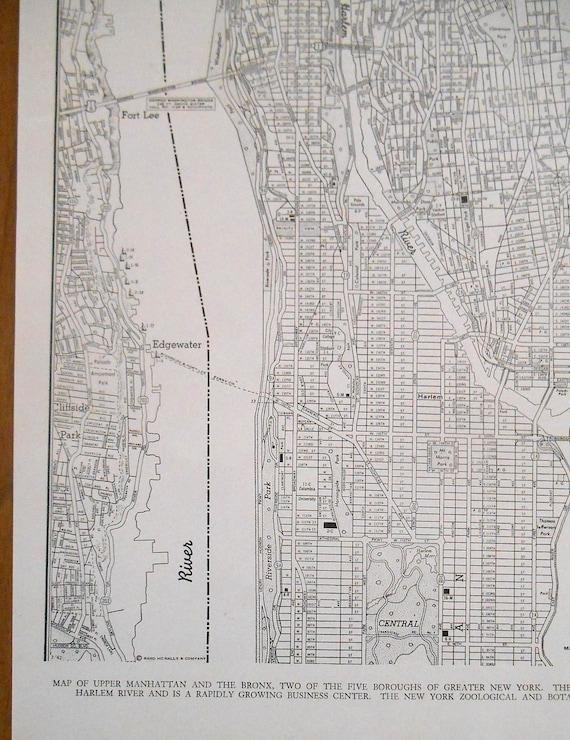 Vintage Map of New York City Upper Manhattan The Bronx