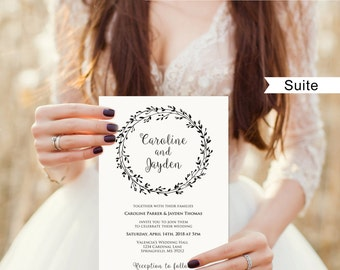 Rustic Wedding Invitation Template, Classic Wreath Wedding Invitation Suite, #A006C, Editable PDF - you personalize at home.