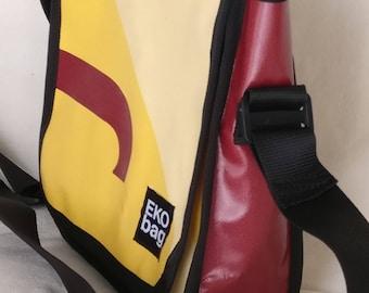 Small messenger bag, brown messenger bag, yellow messenger bag, messenger man bag, woman bag, ipad bag, Recycled, Crossbody bag1001021