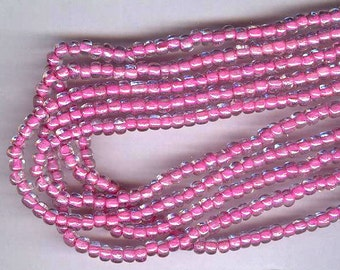 vintage seed beads 200 sommerso glass seed beads 9 per inch fuchsia or deep pink core under clear glass 2mm to 3mm each
