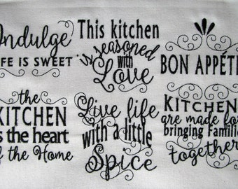 Kitchen lovely quotes - machine embroidery designs - 4x4 and 5x7 - kitchen towels embroidery collection  INSTANT DOWNLOAD