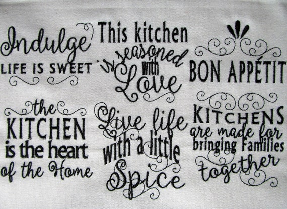 Kitchen lovely quotes - machine embroidery designs - 4x4 and 5x7 ...
