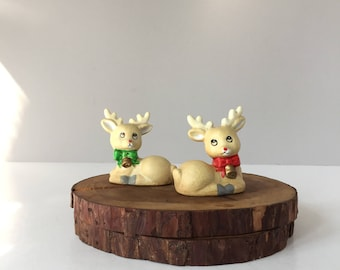 Reindeer Salt and Pepper Shakers, Vintage Christmas Salt and Pepper, Rudolph the Red-Nosed Reindeer, Holiday Table Decor