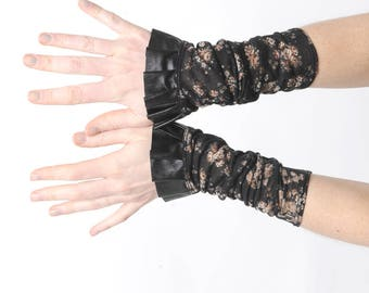 Floral jersey cuffs with ruffle, black and brown cuffs,  black pleather ruffled cuffs, Gift for women, Womens accessories, MALAM