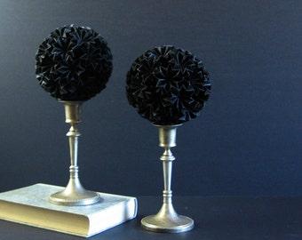 Black Paper Ball of Stars No11 - Origami Paper Sculpture on Silver Pedestal - Kusudama Ball - Black Home Decor - Modern Art Sculpture