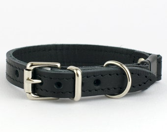 Black Italian Leather Cat Collar