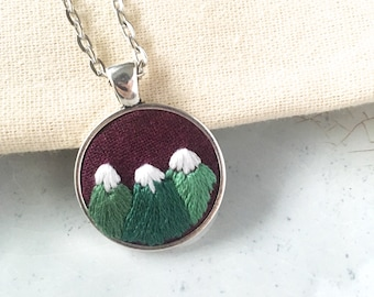 Mountain Embroidery. Nature Jewelry. Mountain Range Pendant. Gift for Hiker. Adventure Necklace. Nature Lover Gift.