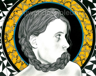 Plait. Fine art print of an original drawing. Signed by the artist.