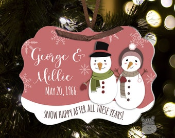 Anniversary Christmas gift snowman ornament - adorable couples anniversary personalized ornament  SPPAO