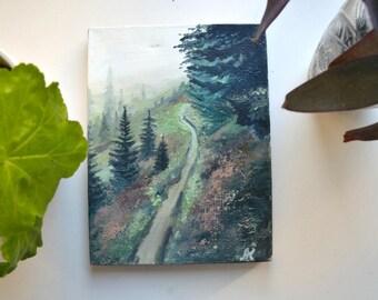original oil painting, forest painting, landscape painting, small art, small painting, oil on canvas, mini art, explore painting