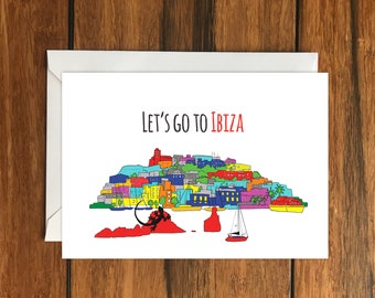 Let's Go To Ibiza Blank greeting card, Holiday Card, Gift Idea A6