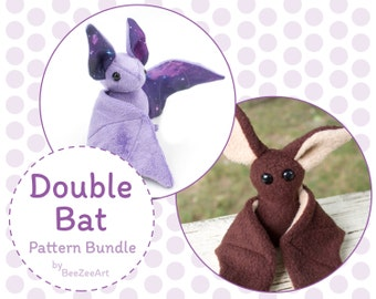 Double Bat Pattern Bundle - Stuffed Animal Sewing Patterns - Two Difficulties of Bat Plushie Patterns
