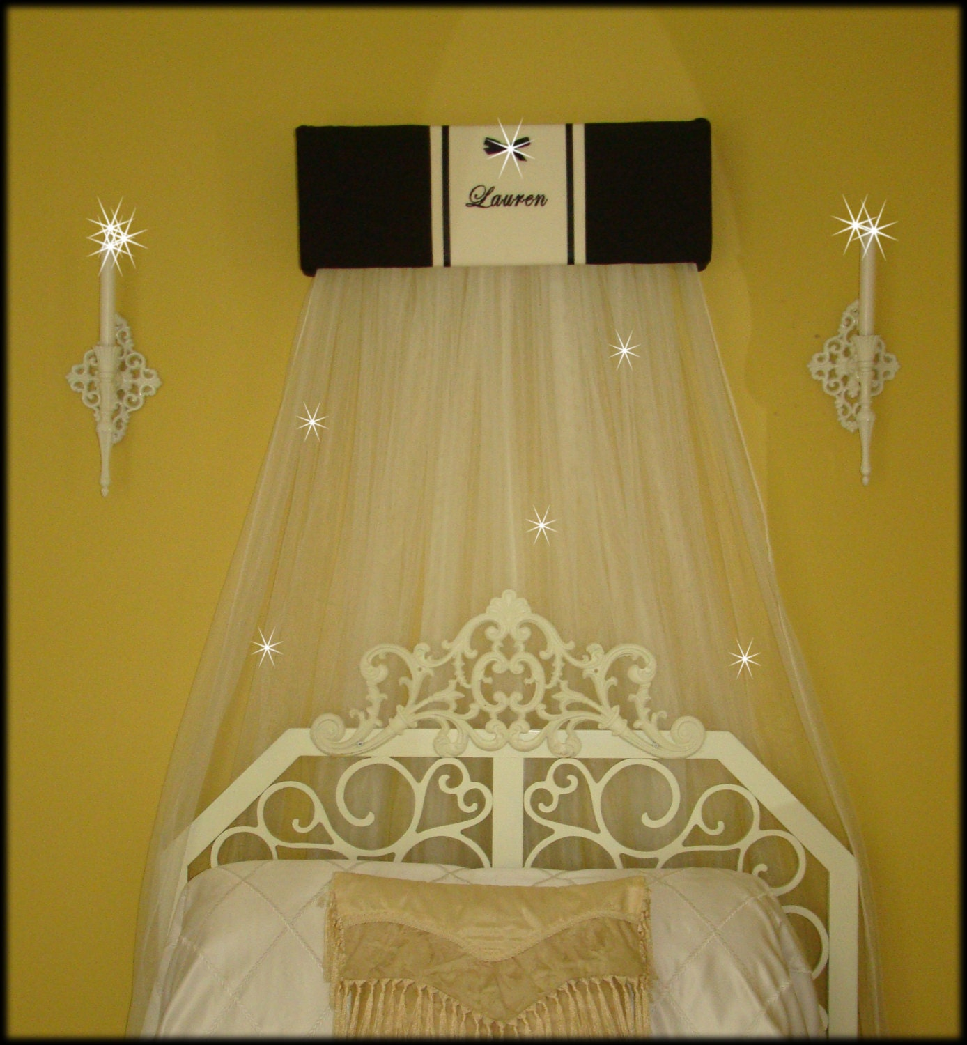SALE Bed Crib Crown Canopy Teester Classic Black White
