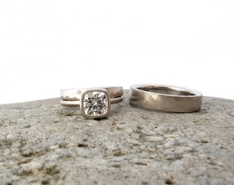 Moissanite engagement ring set, white gold and cushion cut moissanite solitaire, organic hammered rings