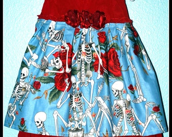 Girls Rockabilly Dress in Red with Skeletons and Roses ........Size 12 months