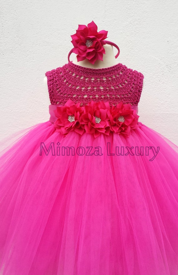 Magenta Flower girl dress, fuchsia tutu dress, magenta bridesmaid dress, magenta princess dress, pink crochet top tulle dress,  wedding