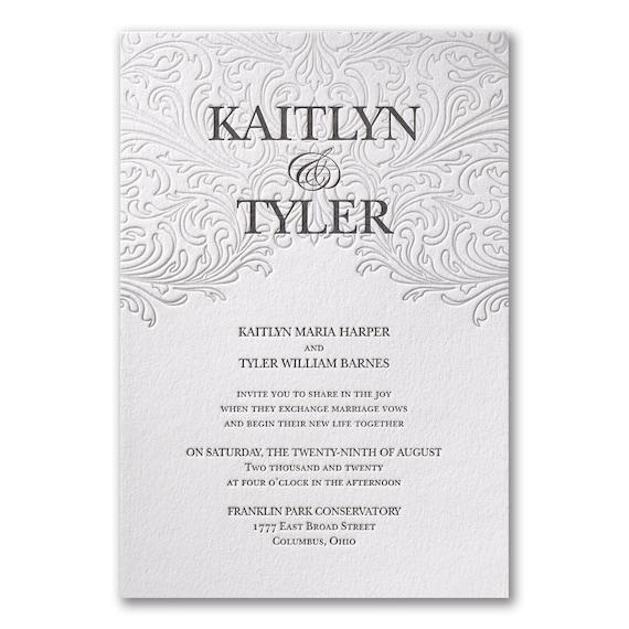 Elegant White Wedding Letterpress Cotton Invitations Includes