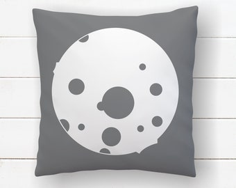 Moon Pillow Baby Boy Nursery, Cushion Cover, Outer Space , Boys Space Room Decor, Astronomy Pillow, Science Decor Kids Throw Pillow