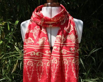 Scarf, scarf, viscose scarf Balinese tie-dye pattern red Butterfly pale yellow