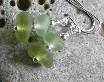 Natural Sea Glass Sterling Silver Earrings Rare Citron (770)