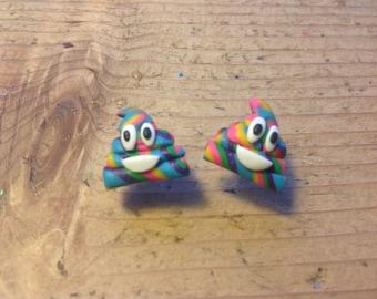 Emoji unicorn poo earrings studs rainbow handmade gift ideas birthday Christmas gift