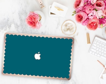Macbook Pro 13 Case Macbook Air Case Laptop Case Macbook Case . Gypsy Teal and Scallop Rose Gold Chrome Edge             - Platinum Edition