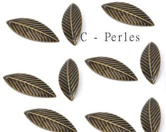 Pendants charms leaves Bronze X 10