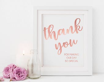 Thank You Wedding Sign // Special Day // Rose Gold Text // Wedding Sign // Printable Wedding Signs // Instant Download