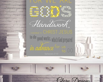 Printable, Bible Verse, Printable bible verse, Wall printable, Scripture art, For we are God's Handiwork, Ephesians 2:10,INSTANT DOWNLOAD