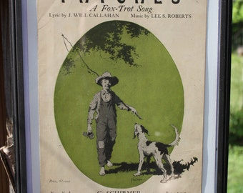 Vintage 1919 Sheet Music-Patches A Fox Trot Song-Features A Boy With Fishing Rod And Dog On Front Page-Great Condition