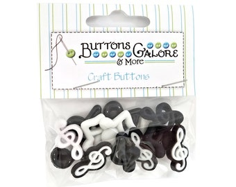 Music Notes Buttons Galore Novelty Buttons Flatbacks