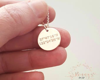 Coordinates Necklace - GPS - Coordinate Disc - Engraved Jewelry - Personalized Gift - Longitude - Latitude - Bridesmaid Gift - Sister D15