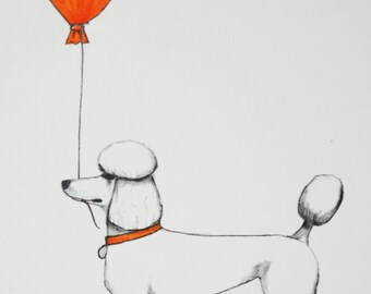poodle greeting card featuring a dog holding an orange balloon