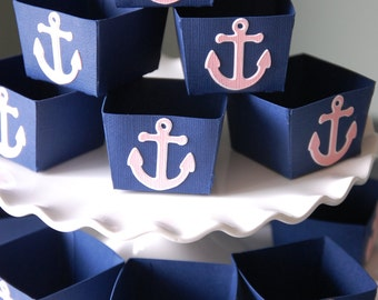 Anchor Candy Cups, Nautical Party Supplies, Nut Cups, Nautical Favors, Party, 12 Pcs, Navy, Light Pink colors